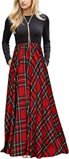 Women's Plaid Long Sleeve Empire Waist Full Length Maxi Dress with Pockets