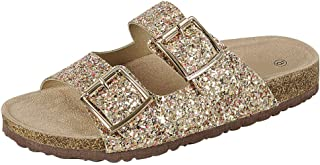 Women's Slip-On Open Toe Two Strap Buckle Glitter Flat Slide Sandal