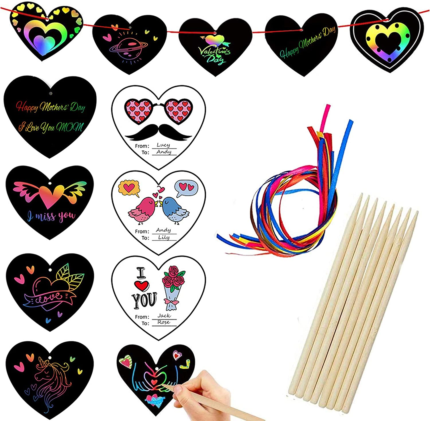 beitony Scratch Art for Kids Paper 12 Pcs Scratch Art -Love Magic Rainbow Scratch Paper Off Arts Kits Preschool Toy for 3 4 5 6 7 8 9 10 Age Kids Holiday|Party Favor|Birthday|Childrens Day Gift