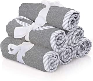 Premium Baby Washcloths – 100% Bamboo Gray Baby Washcloth Set of 6 – Ultra Soft and Absorbent Baby Towels for Boys – Perfect Baby Shower Gift for Baby Boy or Girl by San Francisco Baby