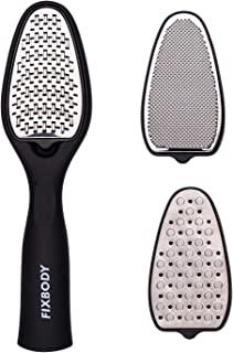 FIXBODY Professional Pedicure Kit, 3 in 1 Replaceable Stainless Steel Foot Rasp File Callus Remover, Dead Skin, Cracked heels, Feet Scrubber Corn Removal Set