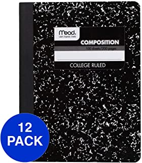 Mead Composition Books, Notebooks, College Ruled Paper, 100 Sheets, Comp Book, Black Marble, 12 Pack (72938) photo