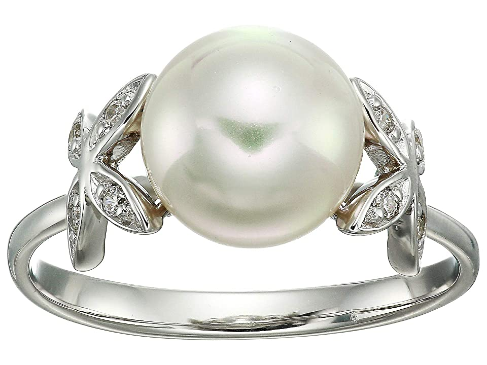 Majorica - Majorica Eternity Rings 4 mm White Pearls Ring w/ Butterfly CZ Sterling Silver Ring