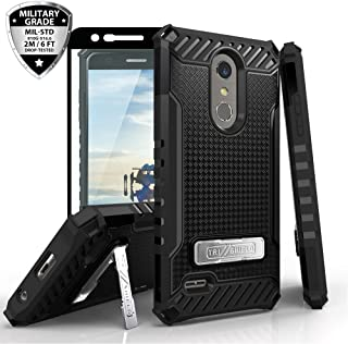 TJS Phone Case for LG K10 2018/K30/Premier Pro LTE/Harmony 2/Phoenix Plus/Xpression Plus, with [Tempered Glass Screen Protector] Metal Kickstand Dual Layer Hybrid Shock Absorbing Armor Case (Black)