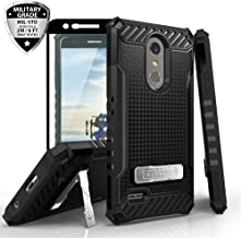 TJS LG K10 2018/K30/Premier Pro LTE/Harmony 2/Phoenix Plus Case, with [Tempered Glass Screen Protector] Metal Kickstand Dual Layer Hybrid Shock Absorbing Armor Phone Case (Black)