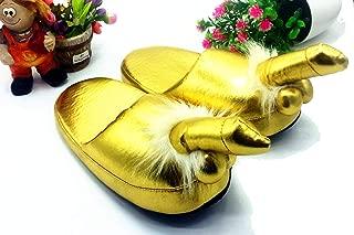 epjies Pantuflas de Invierno de Piel Dorada con Deslizadores de tamaño para Mujer, Zapatillas Interiores