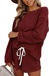 Fixmatti Women Shorts Sweatsuit Sets Long Sleeve Top and Shorts Pant Set with Pockets
