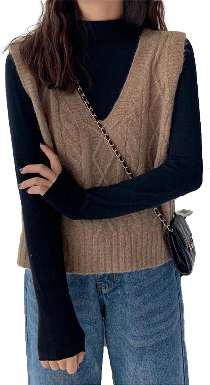 Women's Knitted Cotton V-Neck Vest JK Uniform Pullover Y2k 90s E-Girl Sleeveless Crop Sweater School Cardigan (V Neck Milk Brown,One Size)