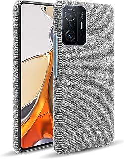 حافظة OIATROE لجهاز Xiaomi 11T Pro ، مصنوعة يدويًا من الجلد نمط القماش الملون الثابت لـ Xiaomi 11T Pro رمادي فاتح