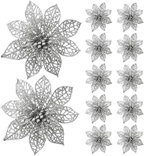 Turelifes 12 Pack Glitter Artificial Poinsettia Flowers Christmas Tree Ornaments 5.9''(15cm) Diameter (Silver)