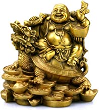 EASTCODE Chinese 12cm High Bronze Laughing Buddha Statue Sitting on a Turtle Inspirational Religious, The Simle Happy Buddha Statue Indoor Home Decor