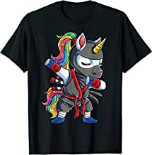 Dabbing Ninja Unicorn T shirt Girls Rainbow Martial Arts Tee