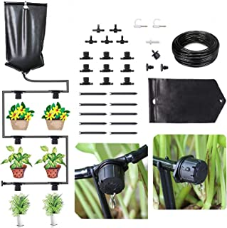 FAMI HELPER Indoor Drip Irrigation Kits Self Watering System - 10L Water Bag DIY Gravity Fed Drip Kit with Adjustable Drip...