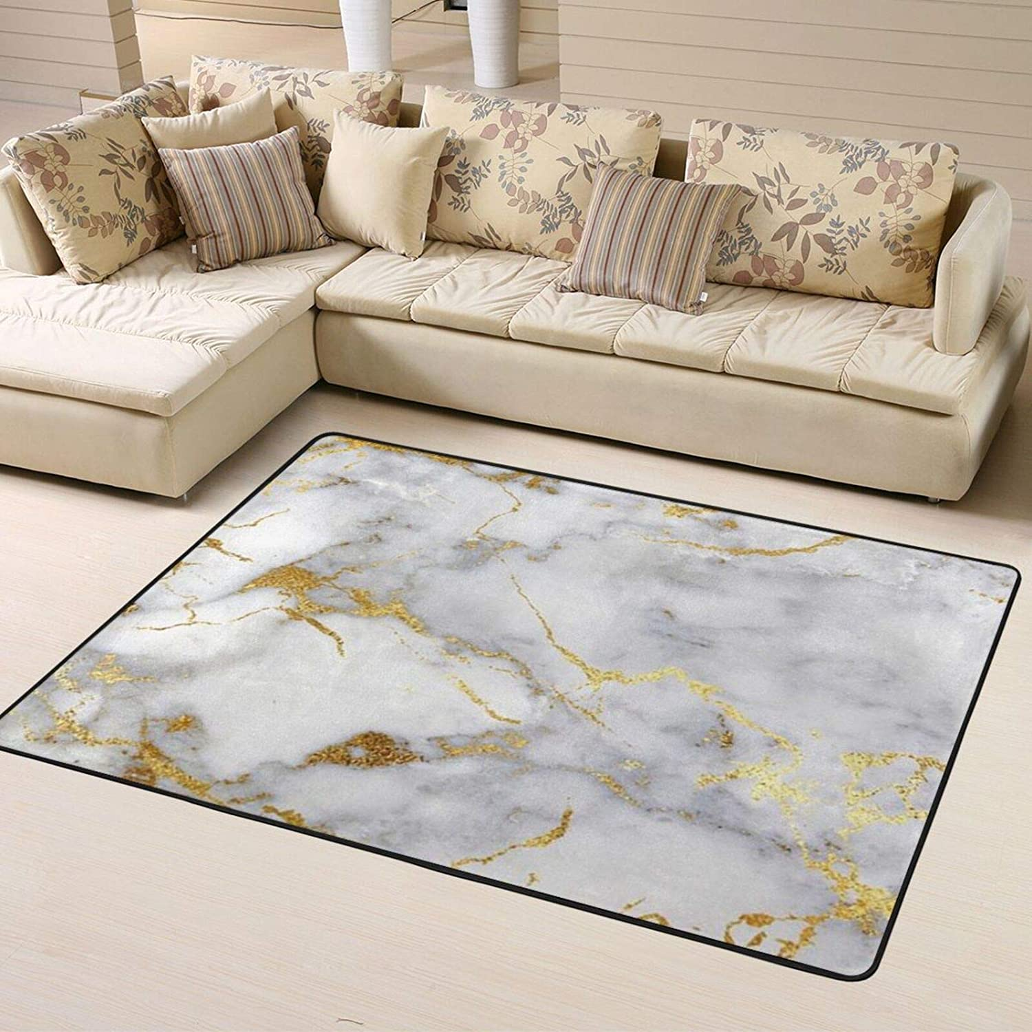 Outlet sale feature Gold Marble Soft Area Max 78% OFF Rugs for Room Bedroom Fluff Shaggy Living