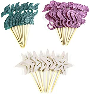BCHOCKS 24 Pieces Mermaid Theme Glitter Cupcake Topper Cake Picks Decoration for Baby Shower Birthday Party Favors, Mermai...