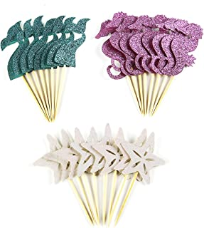 BCHOCKS 24 Pieces Mermaid Theme Glitter Cupcake Topper Cake Picks Decoration for Baby Shower Birthday Party Favors, Mermaid Tail, Seahorse and Starfish Food Picks
