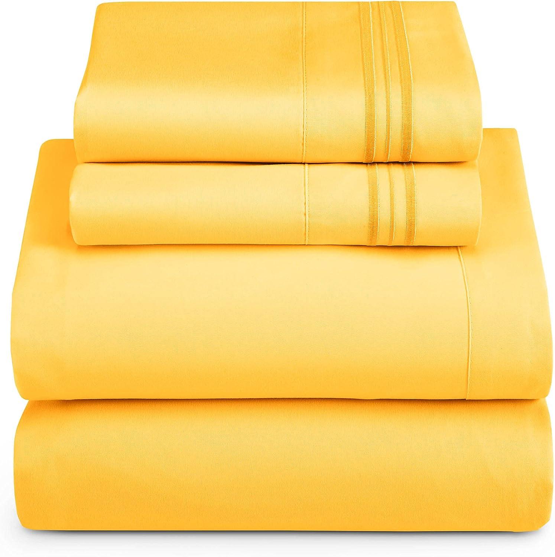 Clara Clark Bed Sheets, Premier 1800 Series 4 Piece Yellow Bed Sheet