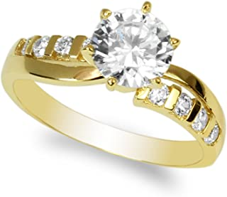 JamesJenny Ladies 10K Yellow Gold 1.1ct Round CZ Infinity Shaped Solitaire Ring Size 4-10