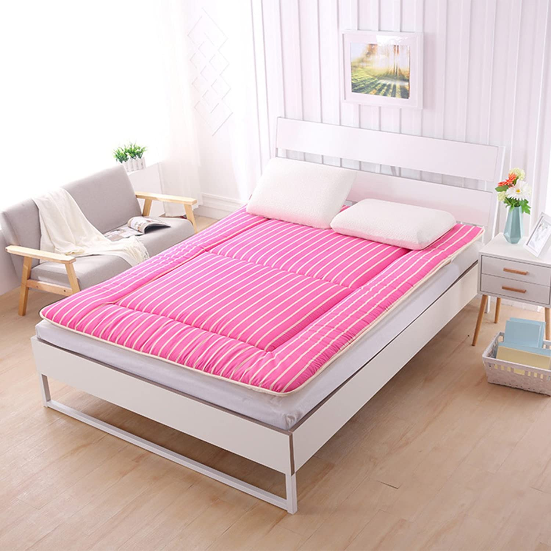 Student Dorm futon Mattress Topper,Tatami Floor mat Double Mattress Quilted Foldable Cushion mats Non-Slip Foldable Cushion mats-Pink 90x195cm(35x77inch)