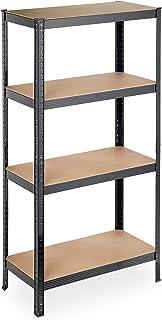 Relaxdays Plank voor zware lasten, 4 planken, 157 x 80 x 41 cm, 280 kg draagvermogen, metaal, opbergrek voor kelder, garag...