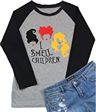 Sanderson Sisters Halloween T Shirt I Smell Children Graphic Tees Women Letter Print Halloween Costume 3/4 Sleeve Tops