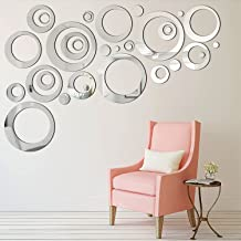 Arabest Mirror Wall Sticker, 24 Pieces Removable Acrylic Circle Mirror Wall Decal for Living Room Bedroom TV Sofa Backgrou...