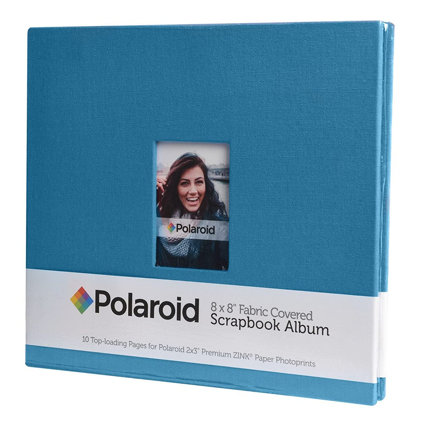 "8""x8"" Cloth Covered Scrapbook Photo Album w/Front Picture Window For Kodak Mini & Kodak Dock Instant Printer Pictures Projects- Blue"