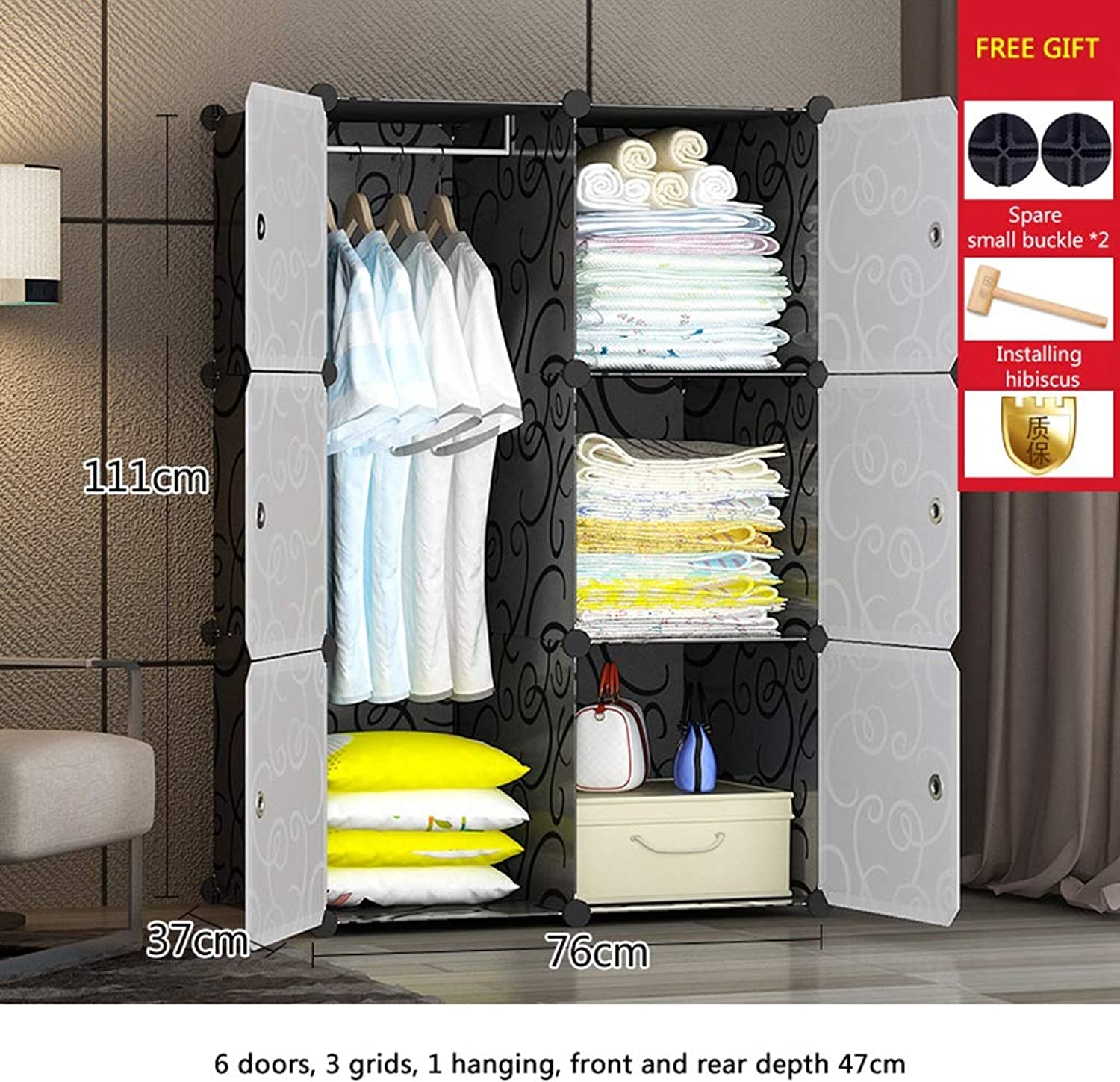 Clothes Closet Wardrobe Portable Wardrobe Closet Modular Storage Organizer Space Saving Armoire Deeper Cube with Hanging Rod 6 Doors (Size   A)