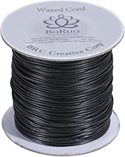 Boruo Brand 1mm Waxed Cotton Cord Beading Cord Waxed String Wax Cording Cord for Jewelry Making and Macrame Supplies 100 Yards Roll Spool Black Color with Acrylic Jar