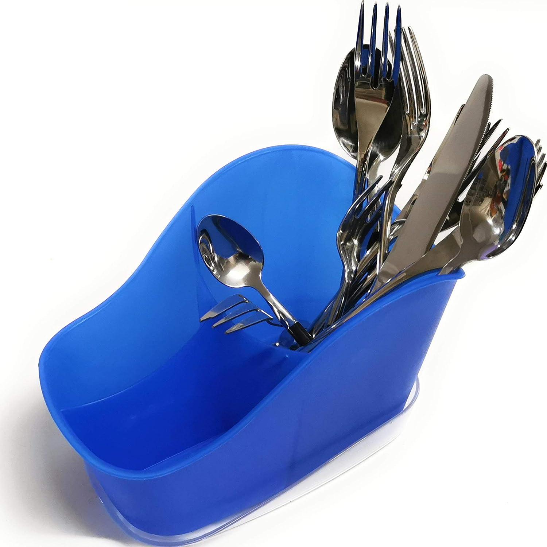 senza BPA 3 scomparti a maglia grossa Kerafactum Cestino portaposate per posate e piccole parti Cestino per lavastoviglie universale portaposate portaposate ovale blu