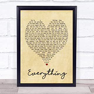 123 BiiUYOO Everything Michael Buble Vintage Heart Song Lyric Quote Print 12