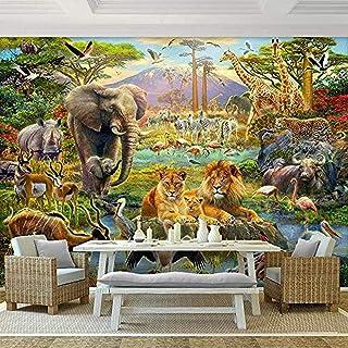 Accessoires de vie Murale Imperméable à l'eau Felephant Lion Animal Fond Décor Salon Chambre D'enfants Chambre Photo Gris ...
