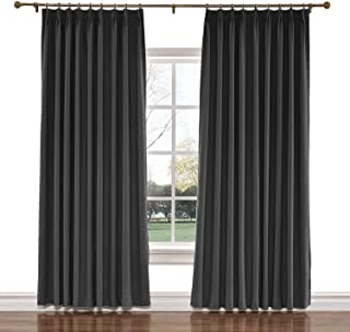 TWOPAGES 150 W x 102 L inch Pinch Pleat Darkening Drapes Faux Linen Curtains Drapery Panel for Living Room Bedroom Meetingroom Club Theater Patio Door (1 Panel),Black