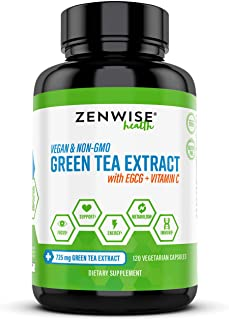 Green Tea Extract with EGCG & Vitamin C - Antioxidant & Immune Supplement - Vegan Skin & Heart Support + Brain Health & Me...