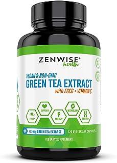 Green Tea Extract with EGCG & Vitamin C - Antioxidant & Immune Supplement - Vegan Skin & Heart Support + Brain Health & Memory Boost - 120 Count