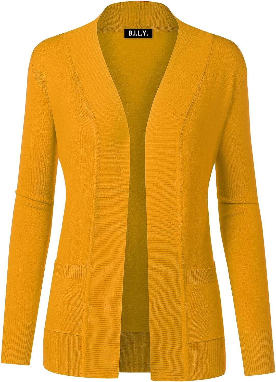 BH B.I.L.Y USA Women's Open Front Long Sleeve Classic Knit Cardigan Mustard Medium