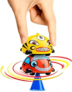 Power Your Fun Turbo Tops Gyro Mini Cars - Spinning Top Party Favors for Kids, Battling Tops 2pk (Car Pack)