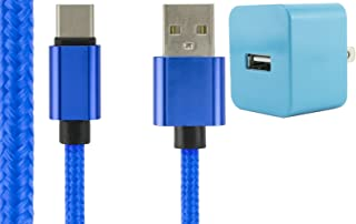 1 AMP 1000mAh USB 3.1 Type C Blue Braided Rope Cord + Baby Blue Wall Adapter for Galaxy S8 Note 8, Nexus 5X 6P Pixel 2, LG G6 V20 V30 Moto Z2 Play Force ZTE Max XL, Zmax Pro, Nokia 8 Plus more!