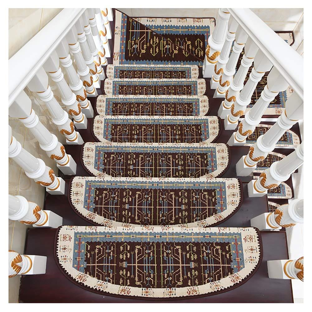 H- Alfombra de Escalera 5pcs Escalera de Caracol Escalera Banda de Rodadura Mat Alfombra, Antideslizante Paso cojín de Cubierta de protección Alfombra, Patrón Europeo (Color : C, Size : 24 * 85cm): Amazon.es: Hogar