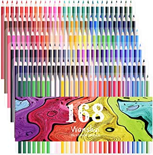 168 Colored Pencils - 168 Count Including 12 metallic & 8 Fluorescence Vibrant Colors (No Duplicates) Art Drawing Colored Pencils Set for Adult Coloring Books Sketching Painting