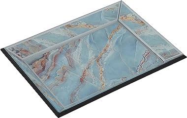 Studio 55D Shiny Polished Blue Glass Decorative Tray