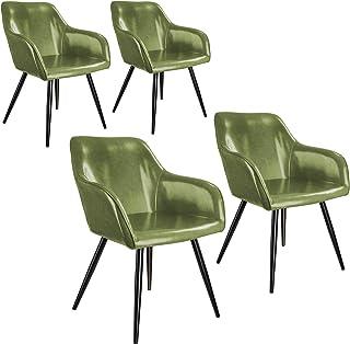 tectake 800878 Cuatro sillas de Comedor tapizadas en Piel sintética, Juego de sillas Elegantes para el salón, Sillones para la Cocina, Muebles de Interior (Verde Oscuro-Negro)