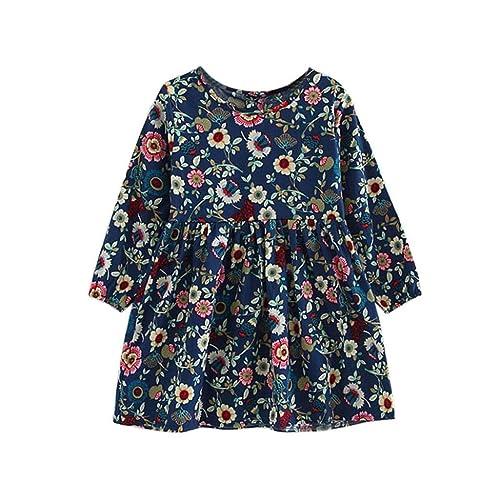 4821a320c9450 Filles Fleur à Manches Longues Princesse Robe 3-11 ans---HUI.