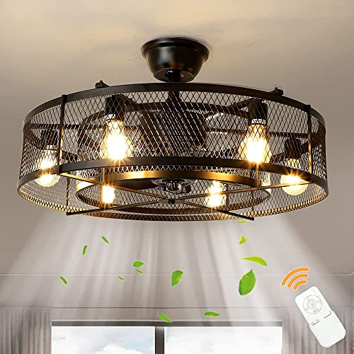 """lowest Depuley Farmhouse Ceiling Fans with light, 26"""" Industrial wholesale Indoor/Outdoor Ceiling Fan lighting, Matte Black Flush outlet online sale Mount Ceiling Fan Light Kit, Remote Control 3 Wind Speed(6-Blade, E26 Bulb not Include) online"""