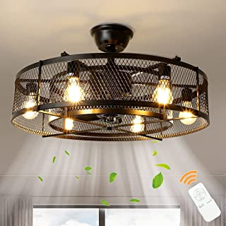 "Depuley Farmhouse Ceiling Fans with Light, 26"" Industrial Indoor/Outdoor Ceiling Fan Lighting, Matte Black Flush Mount Cei..."