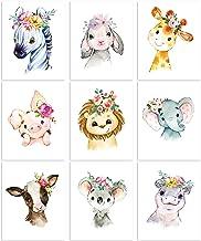 9 Pieces Animal Nursery Wall Art Animal Wall Decoration Nursery Jungle Animal Wall Art Prints for Baby Girl Boy Room Nurse...