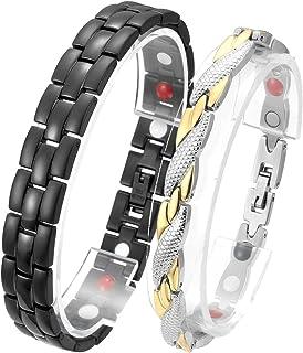 Jovivi, coppia di braccialetti magnetici, 2pezzi in acciaio inossidabile, bracciale magnetico, 4in 1, bracciali per amic...