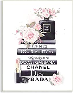 Stupell Industries Pink Roses and Toiletries Fashion Glam Bookstack, Designed by ROS Ruseva Wall Plaque, Black