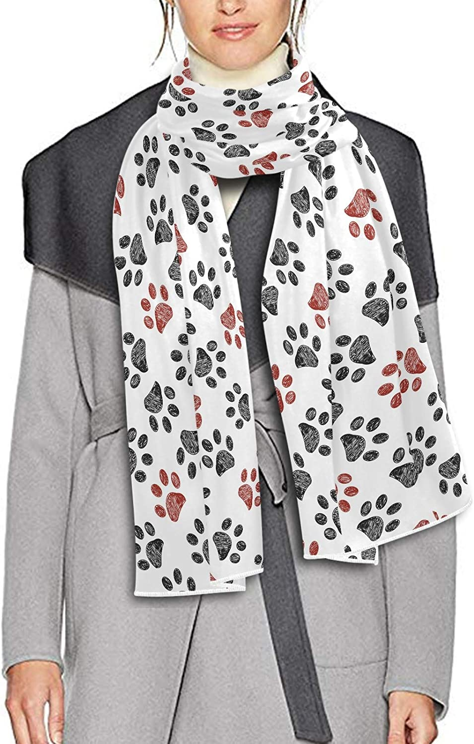 Scarf for Women and Men Doodle Paw Red Blanket Shawl Scarf wraps Warm soft Winter Long Scarves Lightweight