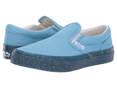 Vans Kids Classic Slip-On (Little Kid/Big Kid) ((Glitter Outsole) Blue/Silver Glitter) Girls Shoes
